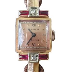 Gruen Art Deco 14K Pink Gold Ruby & Diamond watch